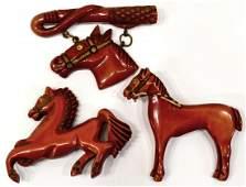 7 3 LOT VINTAGE RED WASH BAKELITE HORSE BROOCHES