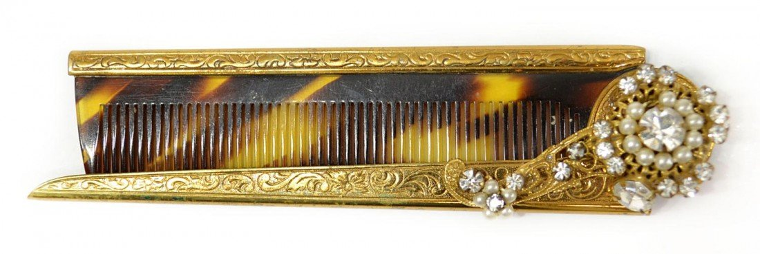 13: VINTAGE MIRIAM HASKELL BROOCH & FAUX TORTOISE COMB - 5