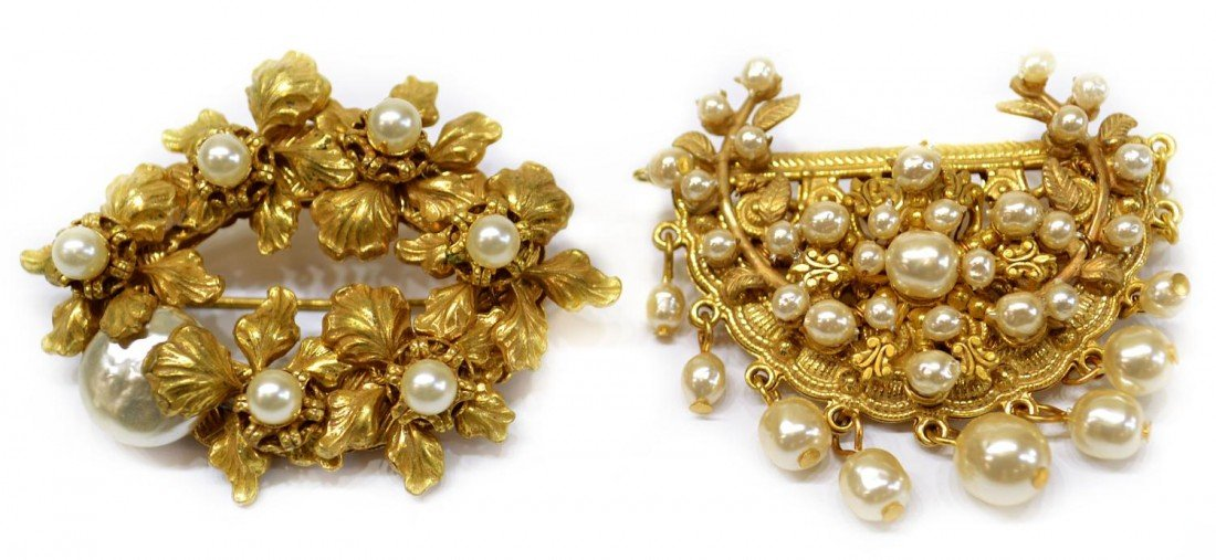 14: VINTAGE MIRIAM HASKELL GILT & FAUX PEARL BROOCH