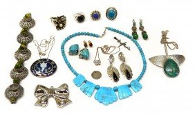 VINTAGE STERLING, TURQUOISE & OTHER JEWELRY LOT