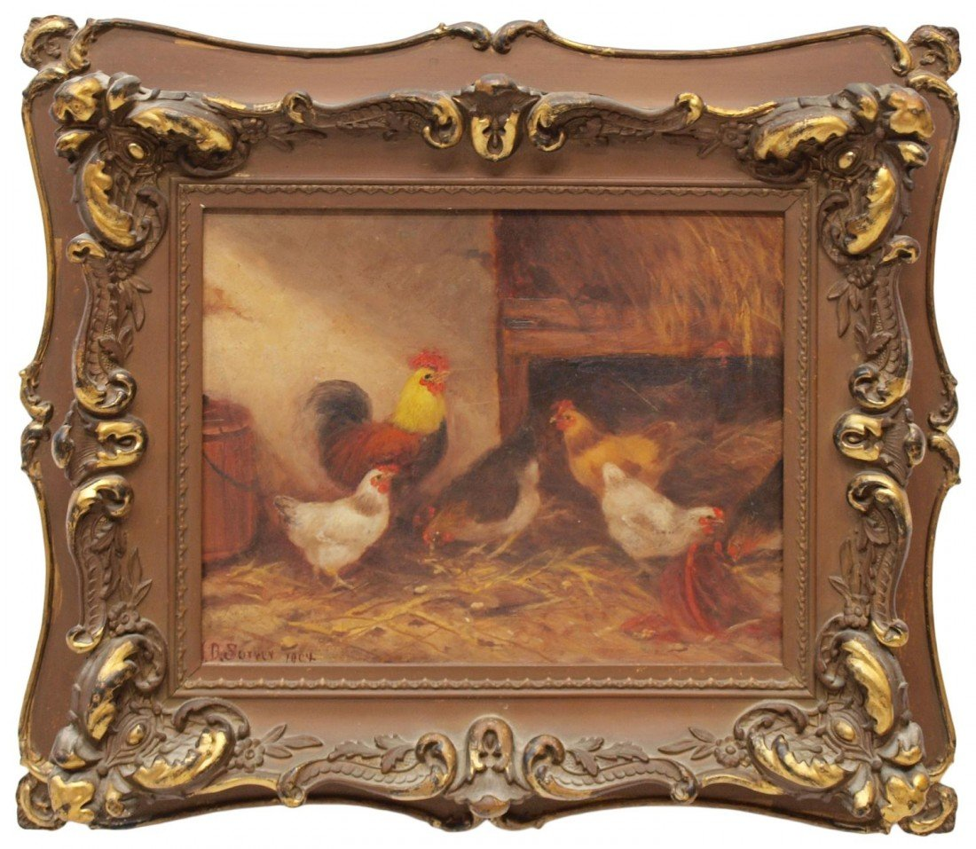 74: PAINTING: ROOSTER & CHICKENS, J.D. SORVER, 1904
