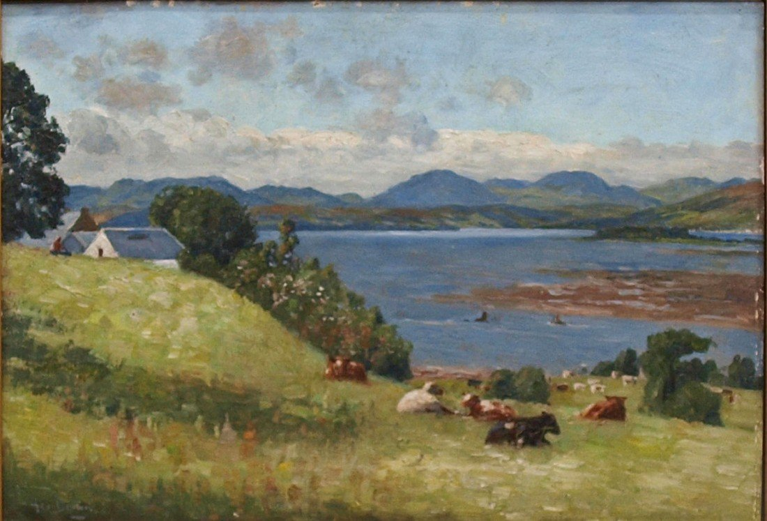 75: FRAMED PAINTING, LANDSCAPE WITH CATTLE, SIGNED