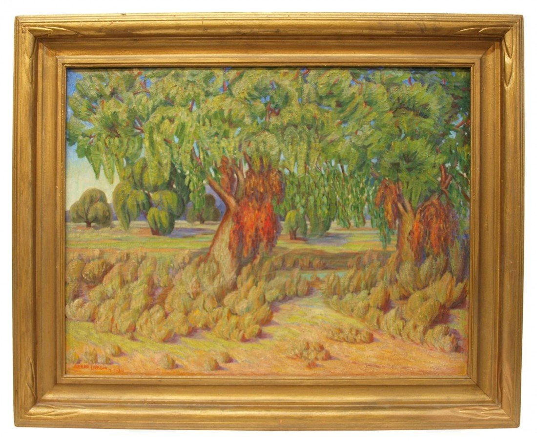 76: FRAMED PAINTING, LANDSCAPE WITH LARGE TREE, SIGNED