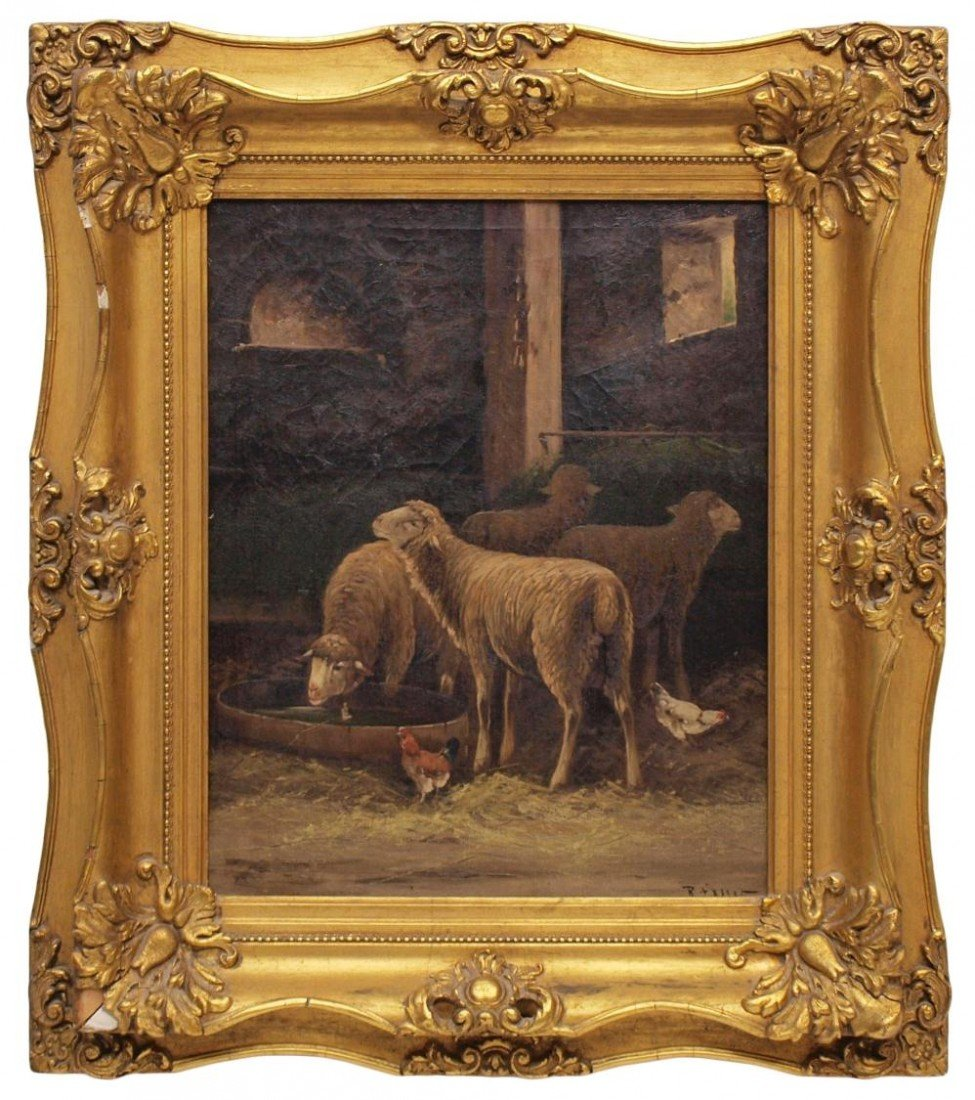 77: PAINTING: SHEEP & CHICKENS, SIGNED