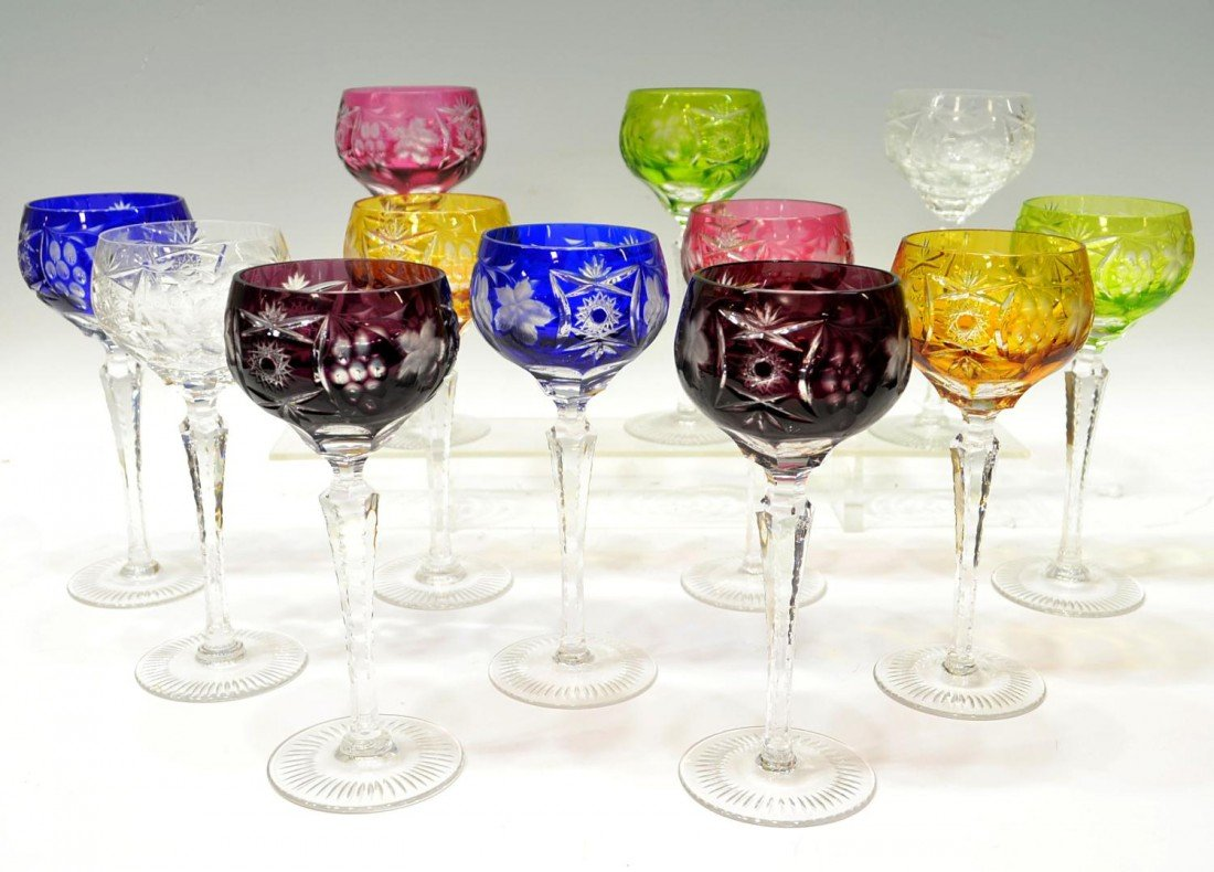 80: FINE GERMAN CUT TO CLEAR COLORED GOBLETS