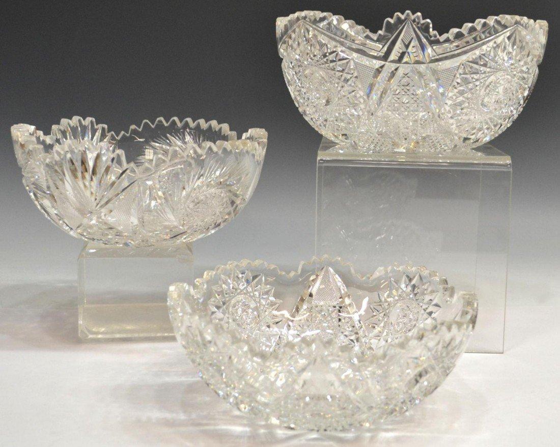 81: (3) FINE AMERICAN BRILLIANT PERIOD CUT GLASS BOWL