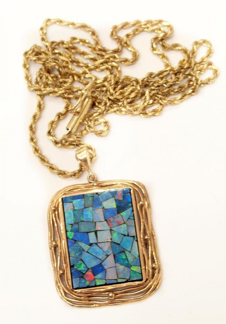 85: 14KT YELLOW GOLD ROPE CHAIN & MOSAIC OPAL PENDANT
