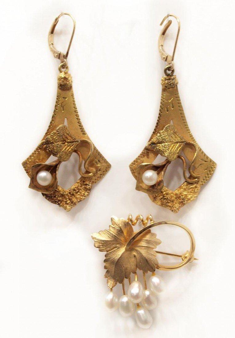 90: VINTAGE 18KT GOLD & PEARL EARRINGS & GF PEARL PIN