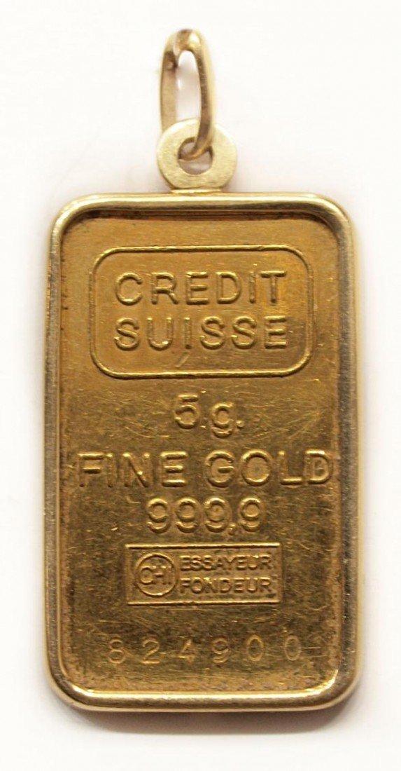 95: CREDIT SUISSE 5 GRAM 24KT GOLD BAR IN 18KT BEZEL