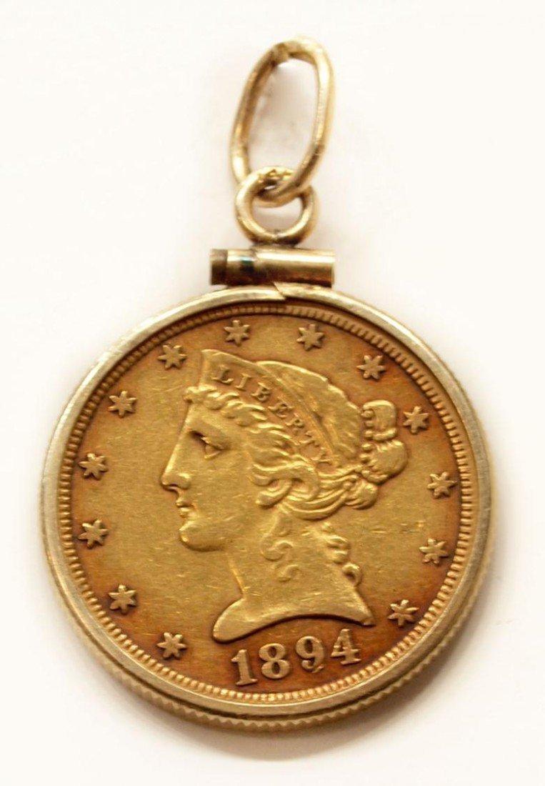 96: 1894 LIBERTY HALF EAGLE $5 GOLD COIN PENDANT