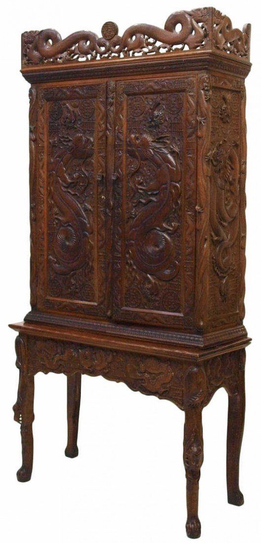 244: HIGHLY CARVED ANTIQUE CHINESE DRAGON CABINET