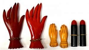 370 6 BAKELITE RED  BUTTERSCOTCH HANDS LIPSTICK