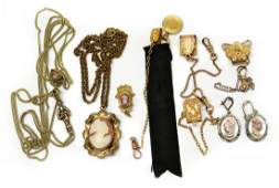 426 9 VICTORIAN CAMEO WATCH FOB  SLIDE JEWELRY LOT