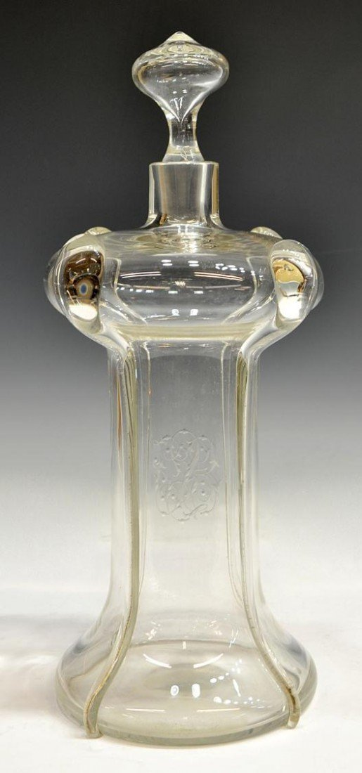 12: UNUSUAL ETCHED COLORLESS GLASS DECANTER