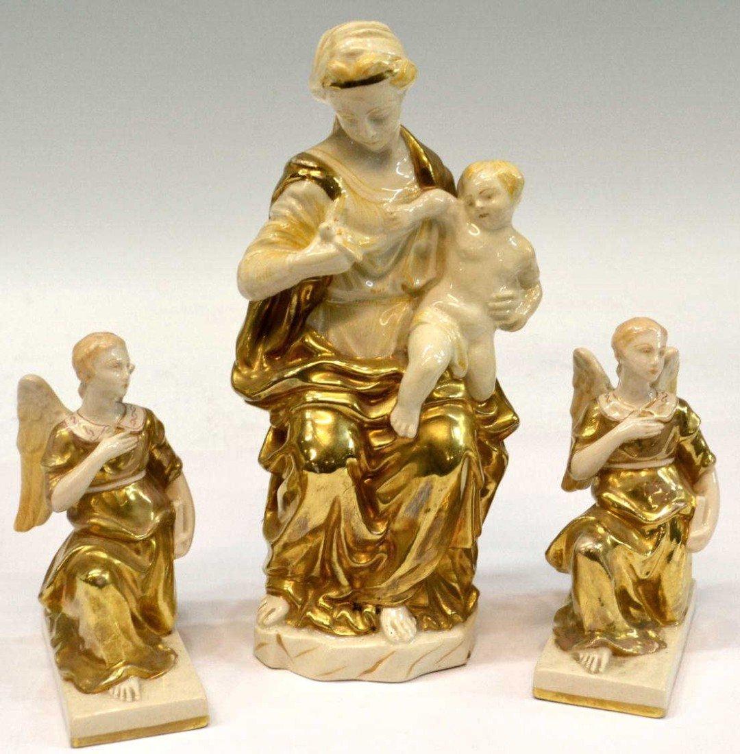 13: ITALIAN GILDED PORCELAIN MADONNA , CHILD & ANGELS
