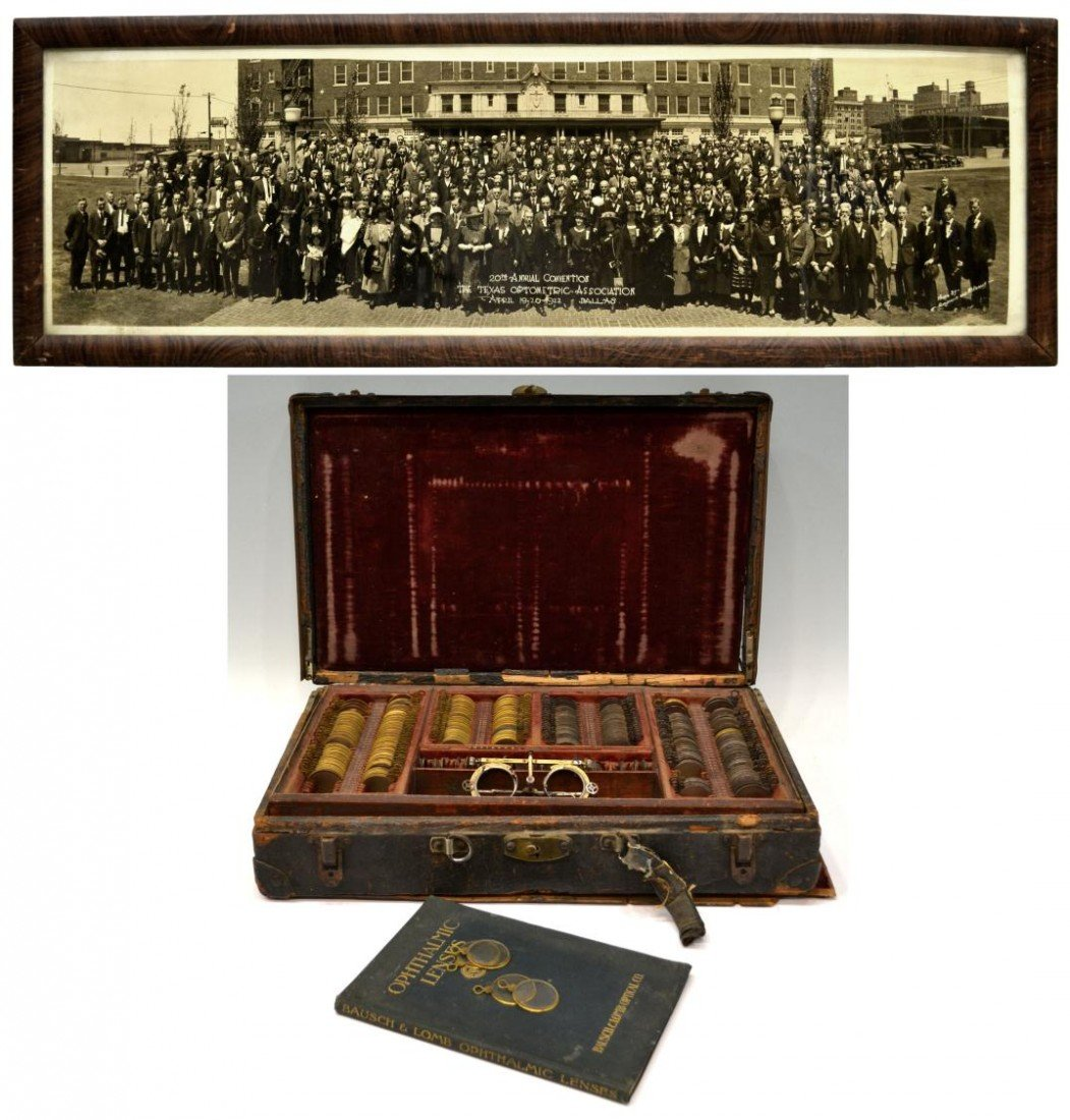16: TEXAS OPTOMETRISTS CASE, BOOK, 1922 PHOTO