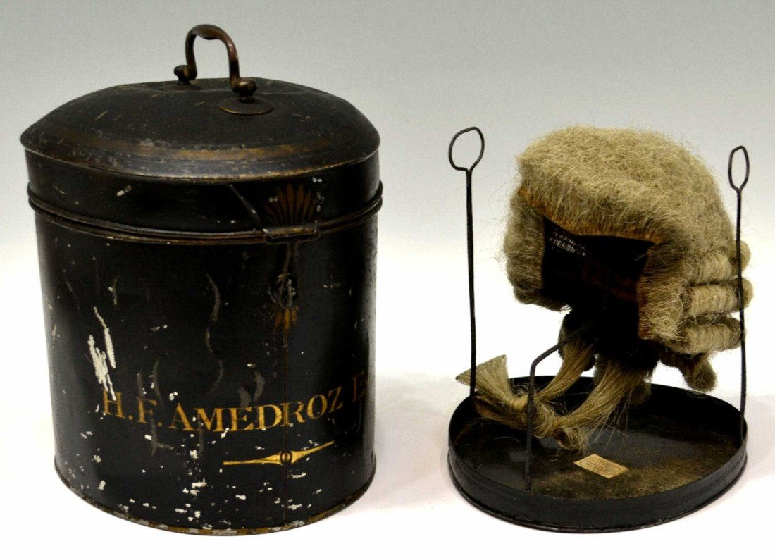 19: 19TH C ENGLISH BARRISTERS WIG & CASE, H.F. AMEDROZ