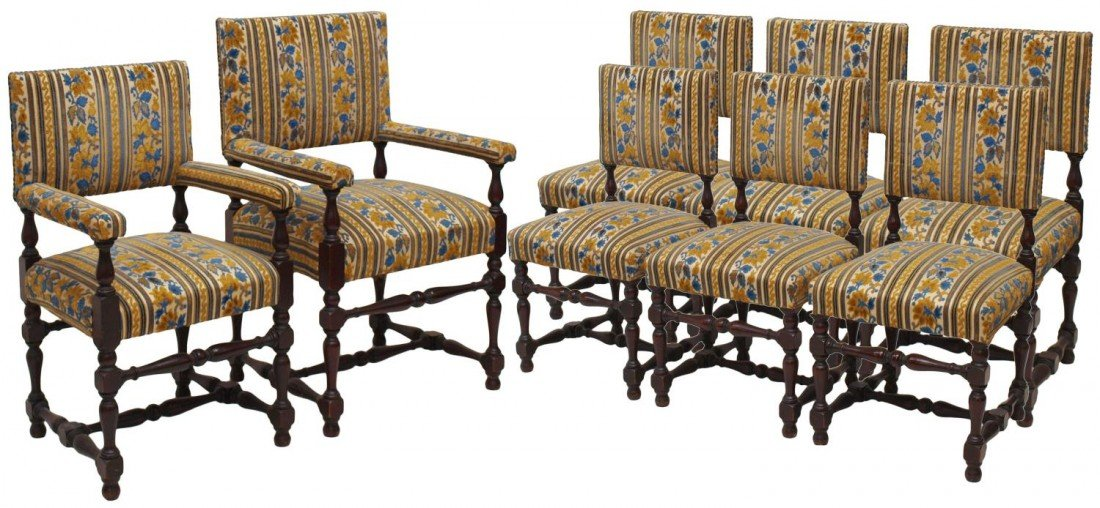 23: SET OF (8) UPHOLSTERED & TURNED WOOD CHAIRS