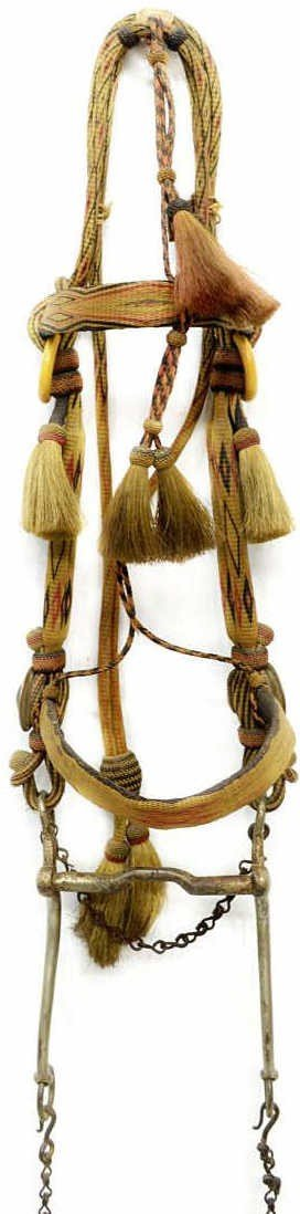 240: ANTIQUE PRISON MADE HORSE HAIR BRIDLE, REINS QUIRT