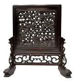394: CHINESE WOOD TABLE SCREEN, DRAGONS & FISH