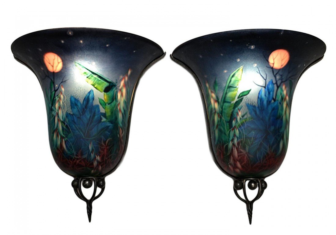 "5: (PAIR) ""MOONSCAPE"" WALL SCONCES, SIGNED ULLA DARNI"