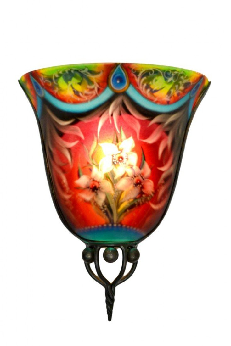 "9: ""FEZ"" HAND PAINTED WALL SCONCE, ULLA DARNI"