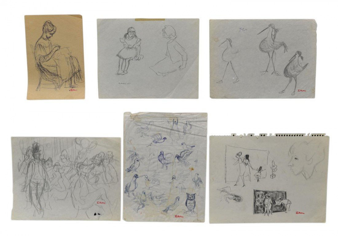 12: (6) STUDIES, DRAWINGS, GUSTAV LIKAN, 1912-1998