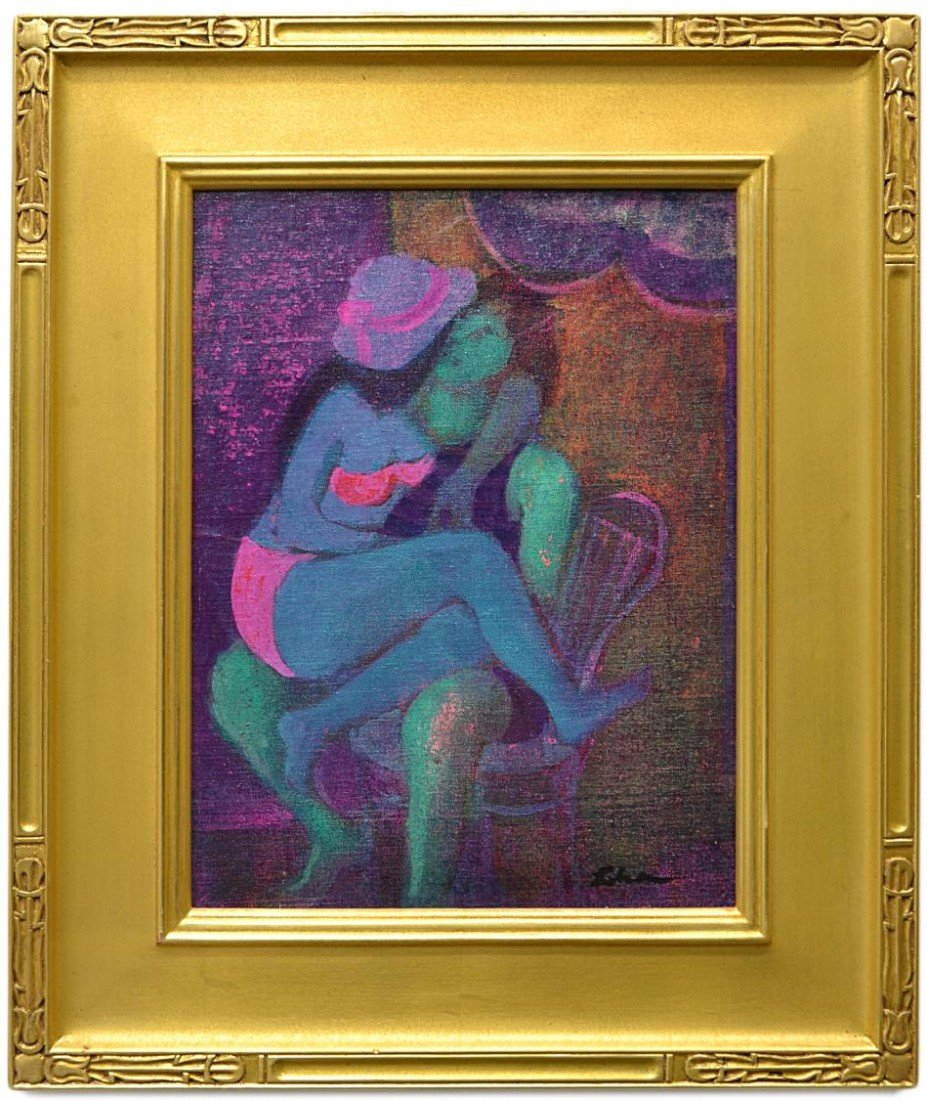 13: FRAMED ACRYLIC PAINTING, 'KISSING,' GUSTAV LIKAN