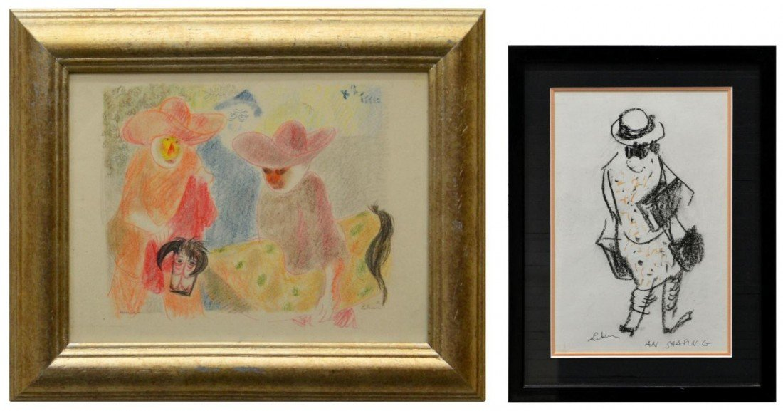 14: (2)FRAMED DRAWINGS, GUSTAV LIKAN, TEXAS, 1912-1998