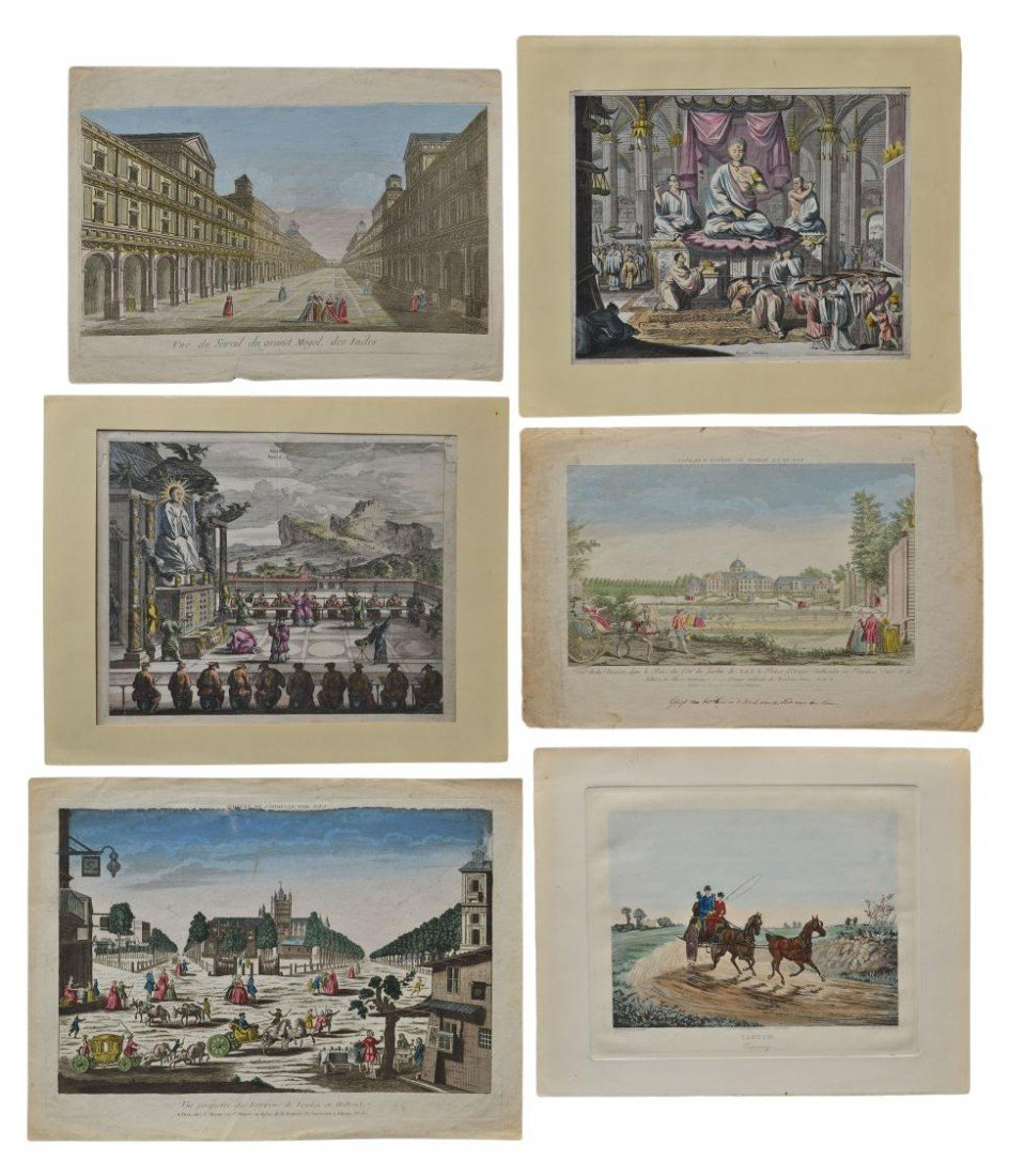 23: 18TH C. PERSPECTIVE VEIWS HAND COLORED ENGRAVINGS