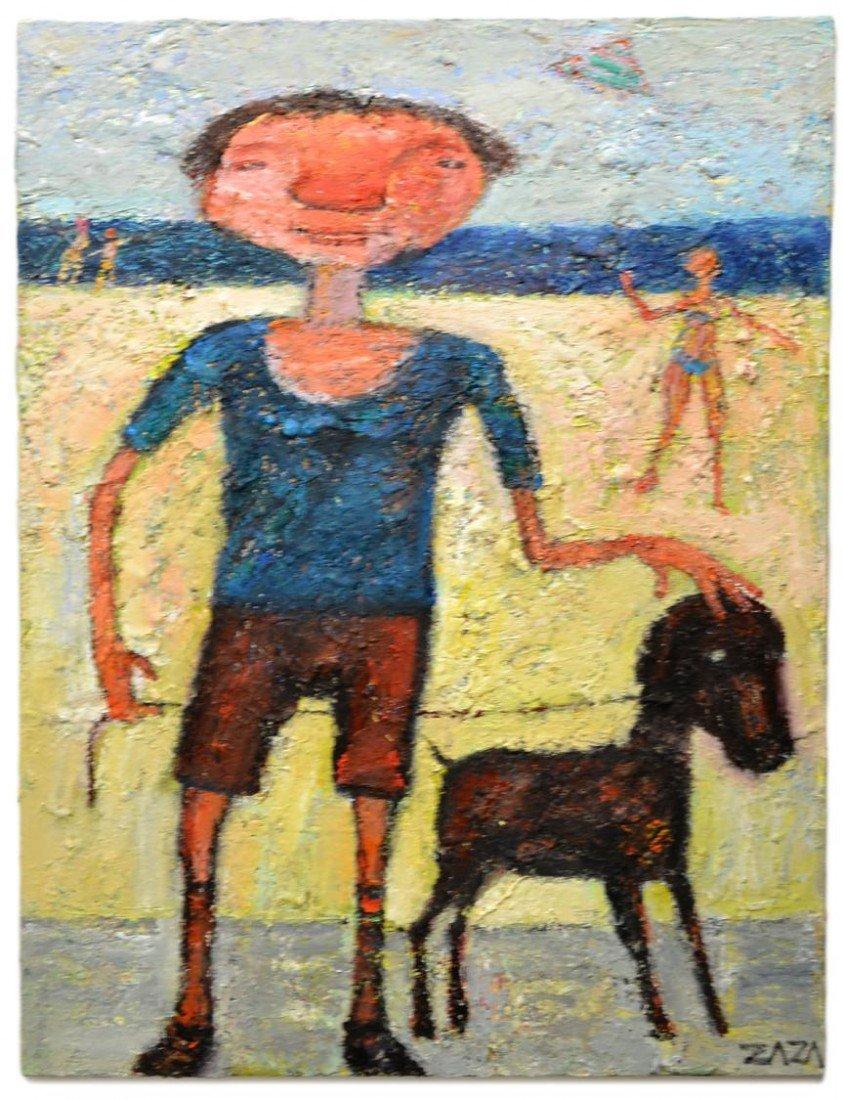 50: OIL PAINTING, BOY & DOG AT BEACH, ZAZA KHABULIANI