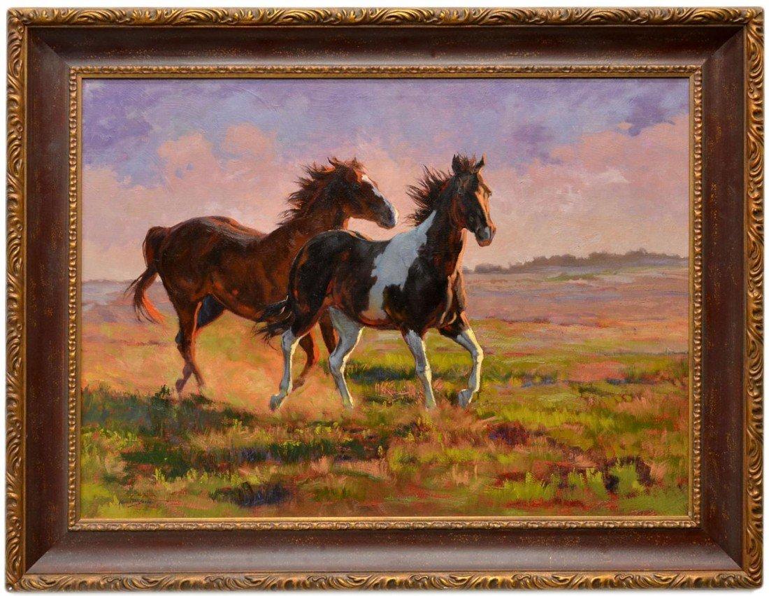 56: (2) OIL PAINTINGS, HORSES, KAREN BONNIE