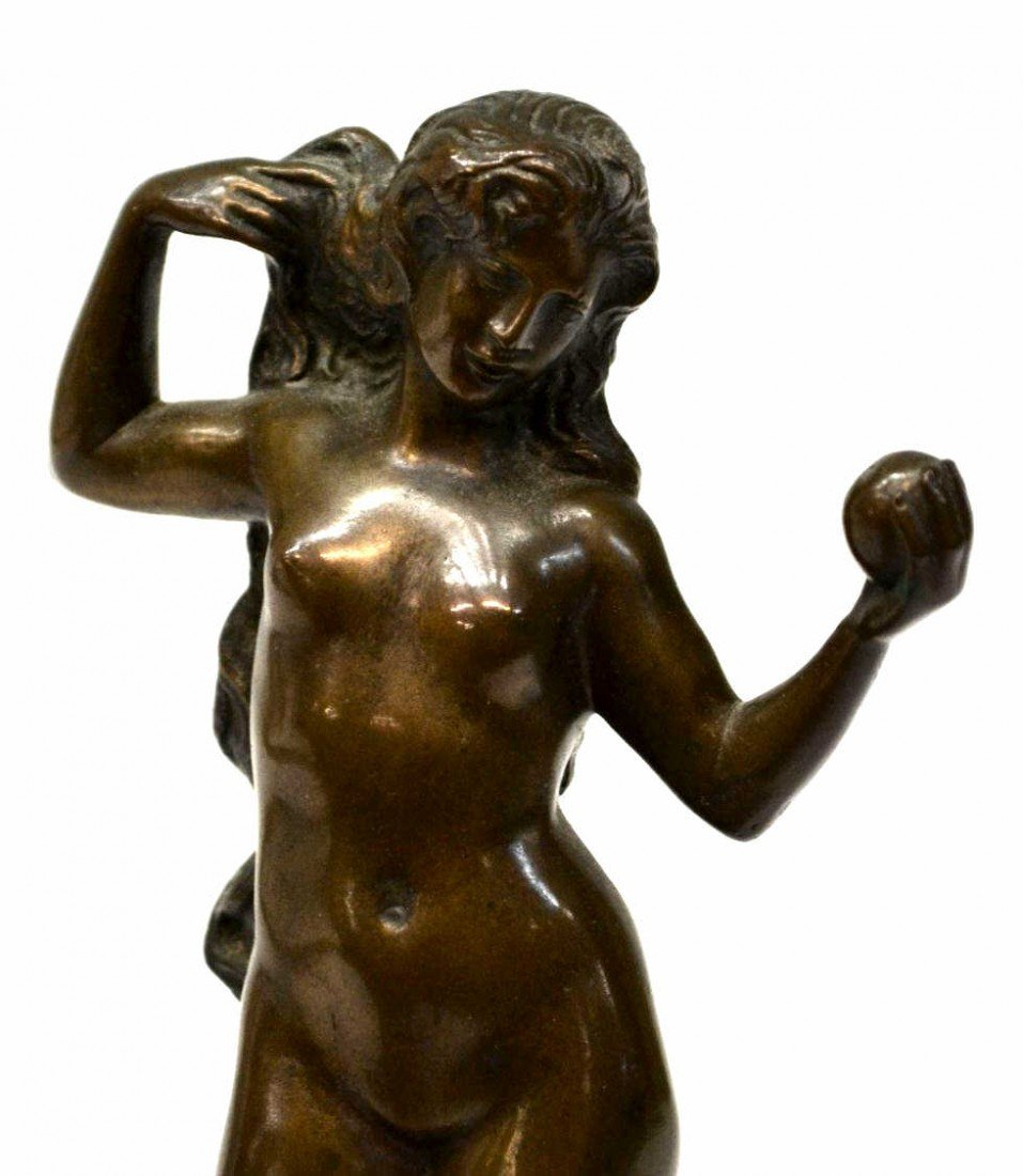 58: GERMAN BRONZE SCULPTURE, NUDE FEMALE