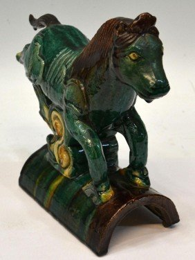 CHINESE ROOF TILE, REARING HORSE