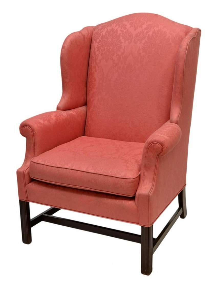 64: CHIPPENDALE STYLE WINGBACK CHAIR