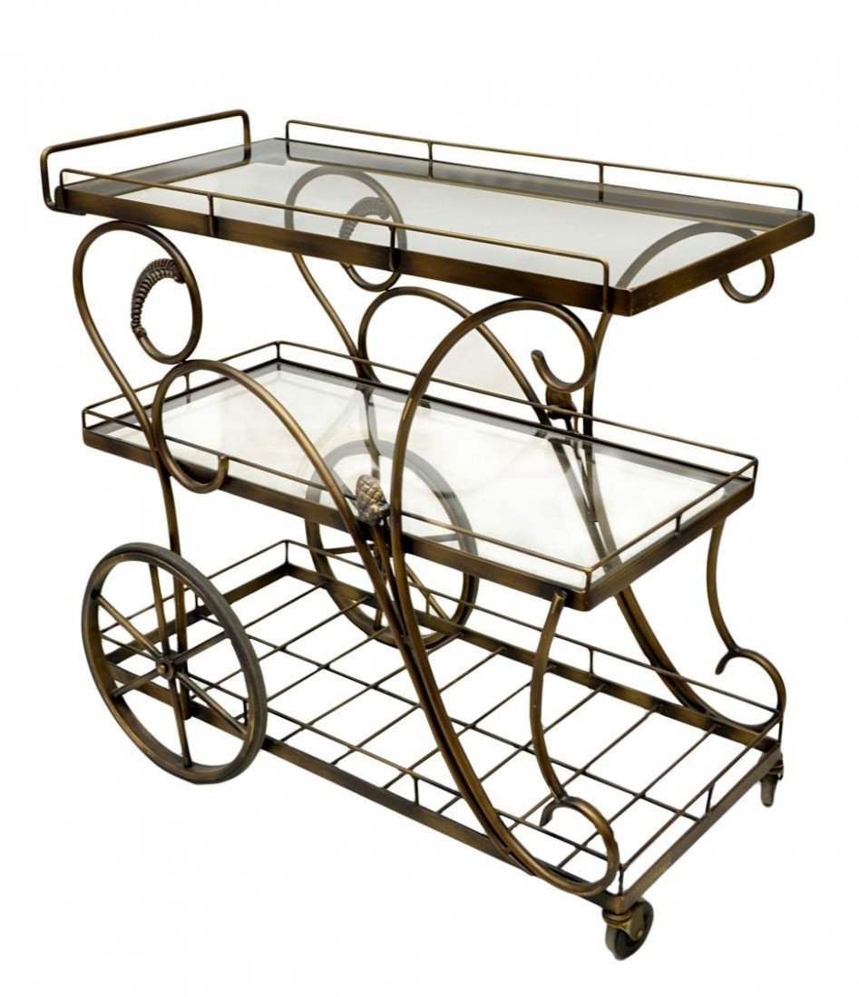 68: WROUGHT IRON FRAMED SERVING CART ON WHEELS