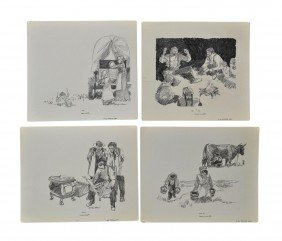 (4) PENCIL DRAWINGS, CHARLES SHAW, 1941-2005