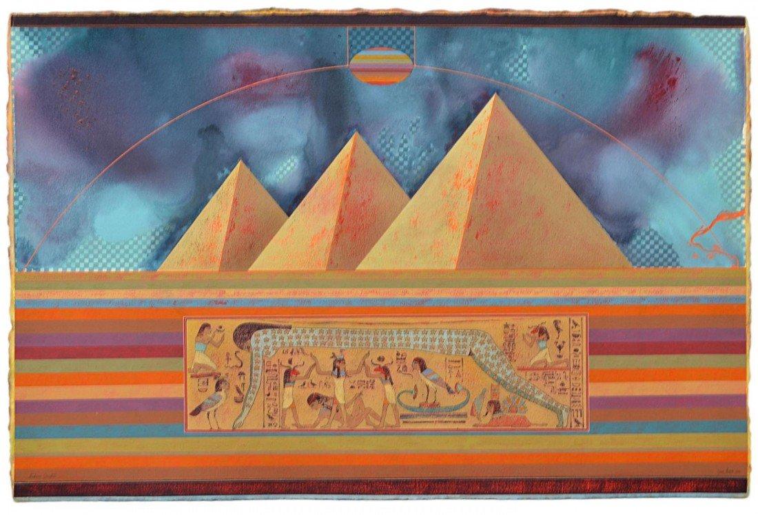"""195: PAINTING, """"NUBIAN GRAFFITI"""", YAN MACS 1933-1993"""