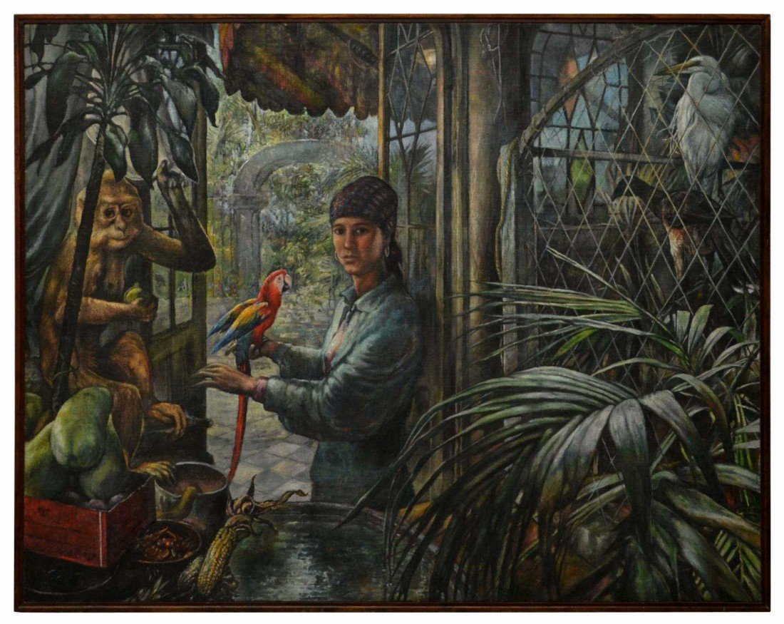 204: FRAMED PAINTING, LADY & PARROT, EDWIN MARTIN, 1980