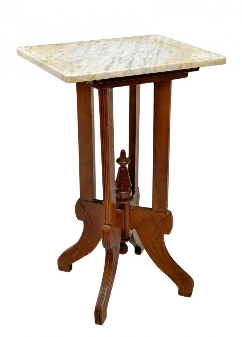 215: VICTORIAN EASTLAKE MARBLE TOP LAMP TABLE