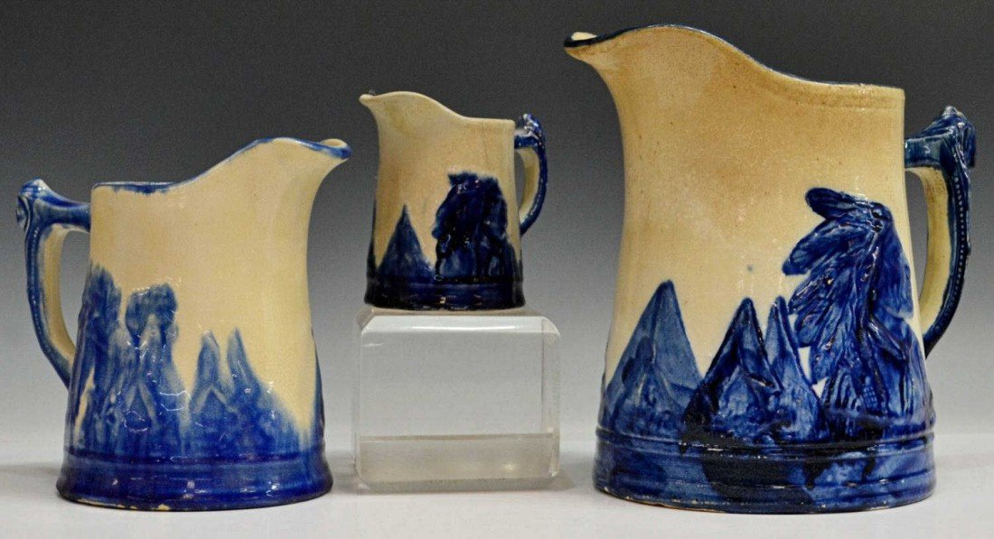 11: (3) COLLECTION 'OLD SLEEPY EYE' POTTERY PITCHERS