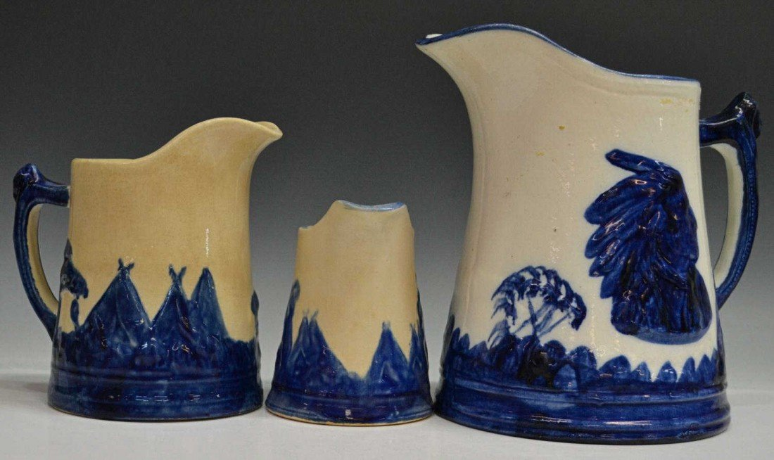 12: (3) COLLECTION 'OLD SLEEPY EYE' POTTERY PITCHERS
