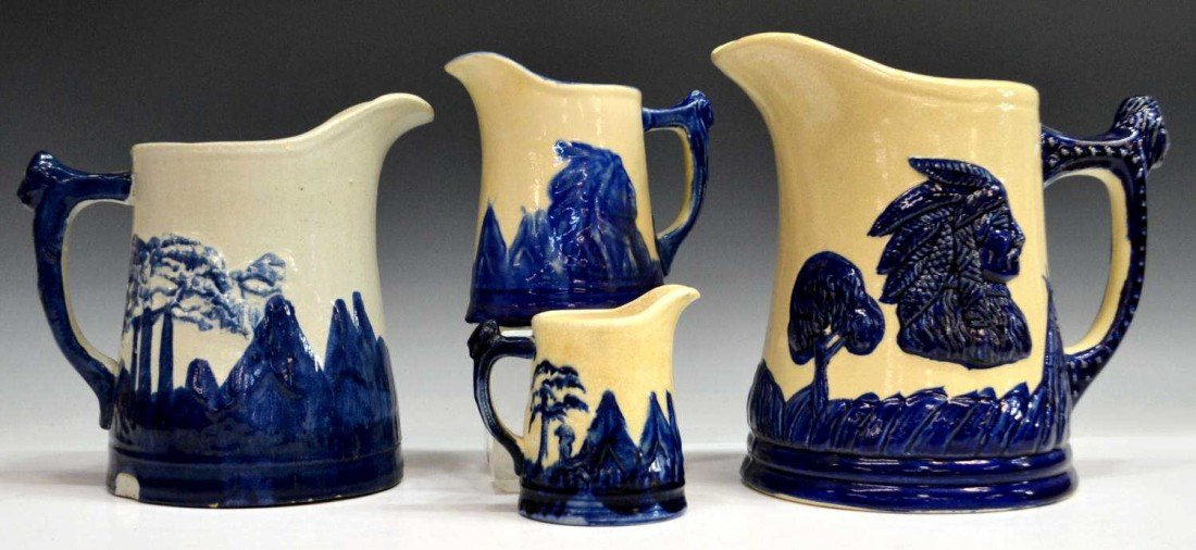 13: (4) COLLECTION 'OLD SLEEPY EYE' POTTERY PITCHERS
