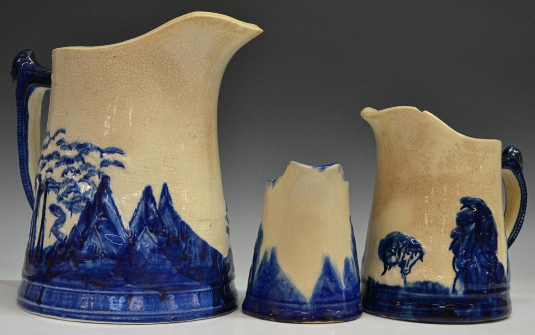 14: (3) COLLECTION 'OLD SLEEPY EYE' POTTERY PITCHERS