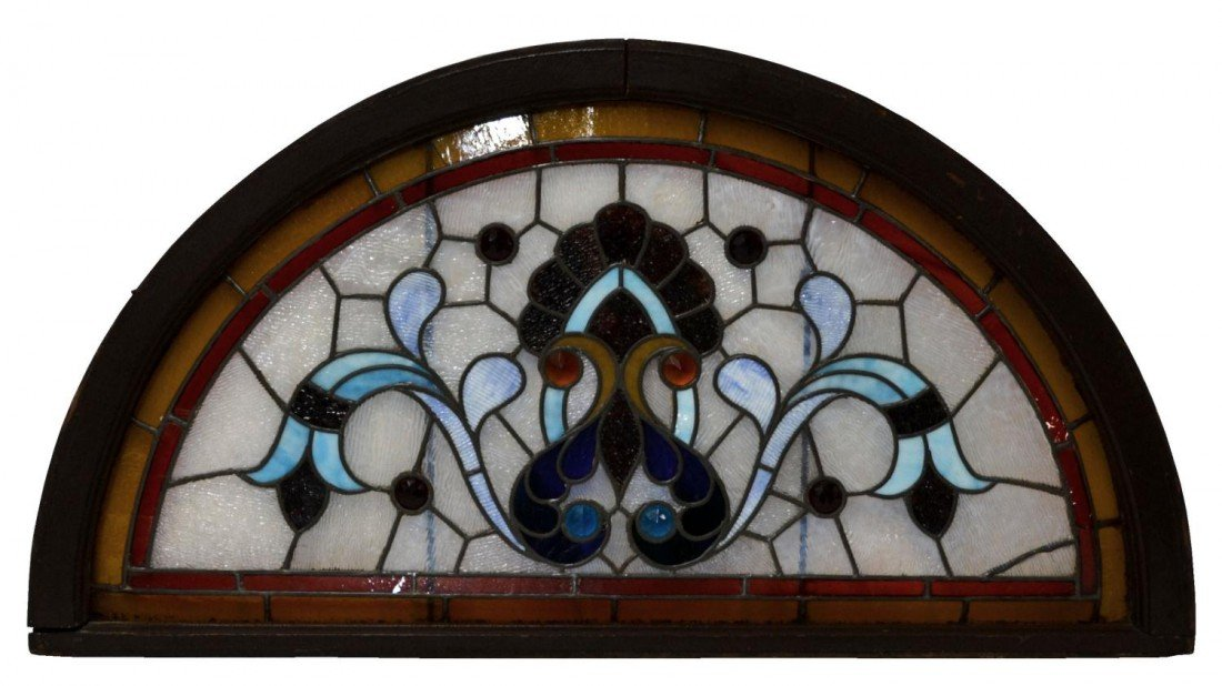 17: LARGE COLORFUL LEADED & STAINED GLASS TRANSOM