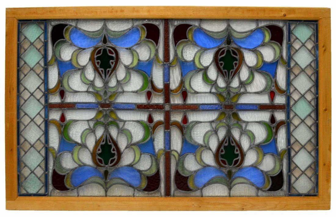 18: AMERICAN LEADED & COLORFUL STAINED GLASS WINDOW