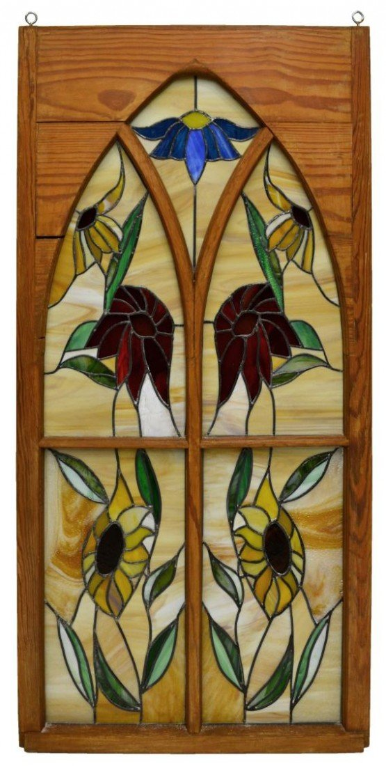 19: LARGE FRAMED FLORAL LEADED & STAINED GLASS WINDOW