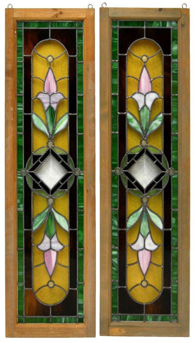 20: PAIR AMERICAN LEADED & STAINED GLASS WINDOWS