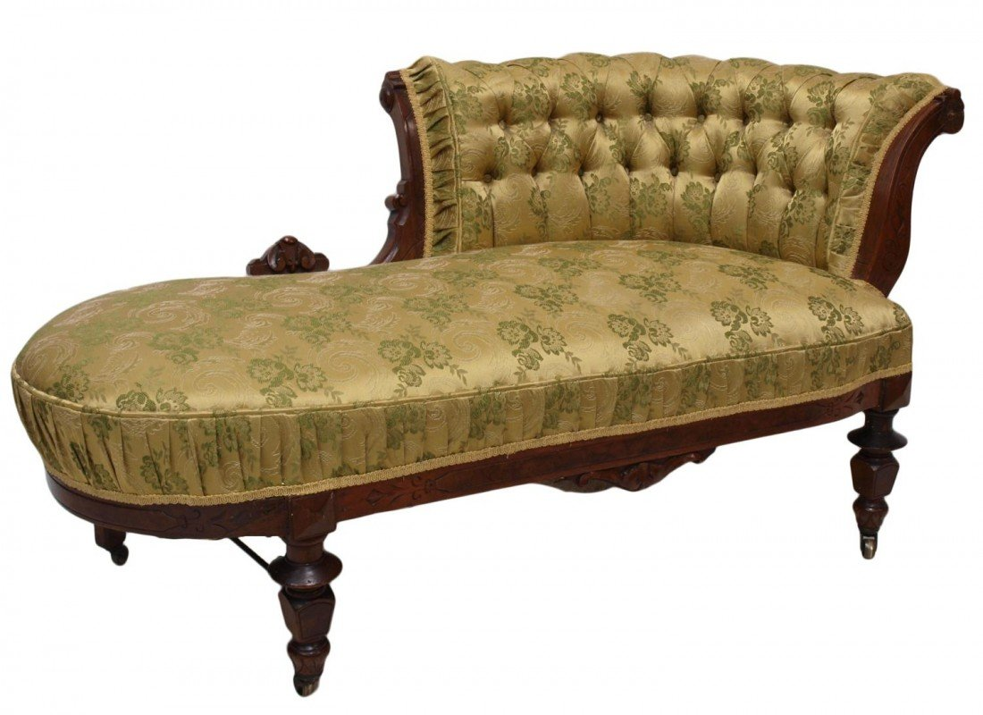 22: AMERICAN VICTORIAN INCISED WALNUT FAINTING COUCH