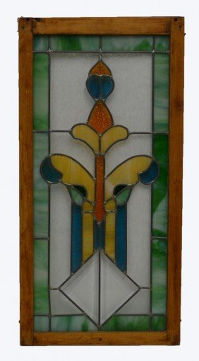 SMALL AMERICAN LEADED & STAINED GLASS WINDOW